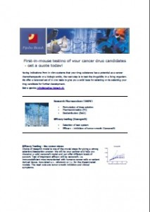 First-in-mouse - Testing of your Cancer Drug Candidates