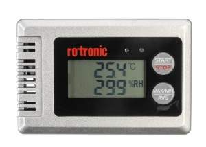 Front panel of Rotronic HygroLog HL-1D showing LCD display and switchable Max/MIN/AVG statistical temperature and relative humidity readout