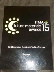SEPAREX's name engraved on the polished marble 2015 ITMA Sustainable Textiles Process Award