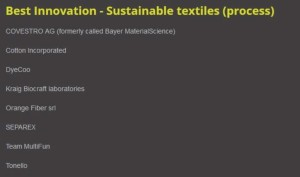 Shortlist for the 2015 ITMA Sustainable Textiles Process Award