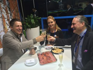 Well met! Orion Contract Manufacturing Head Esa Nauska and Business Manager Maria Moukola toast future success with Particle Analytical CEO Søren Lund Kristensen