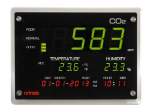 Rotronic CO2 display monitors carbon dioxide concentrations, temperature and humidity