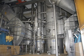 Falling film evaporator operated by mechanical/thermal exhaust vapors
