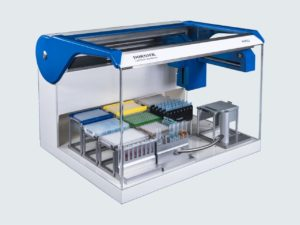 DORNIER LabTech System PIRO® pipetting robot loaded for qPCR reactions