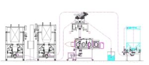 Schematic drawing showing Dec's contained big bag dispensing solution. Bulk ingredients (left) are emptied and transferred by PTS through isolator into cone mill (underneath the isolator) APIs can be added to the mill within the isolator (OEL > 1-10 µg/m3)