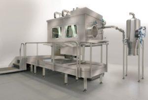 Half suit micronizing and dispensing isolator