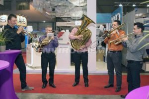 Brass band providing music for EnviroChemie 10th anniversary party