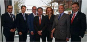 MEGGLE Management Board (from left): Marcus Hormuth, Reinhold Schlensok, Matthias Oettel, Dr. Stefan Schmale, Marina Meggle, Toni Meggle, Prof. Dr. med. Bruno Meiser