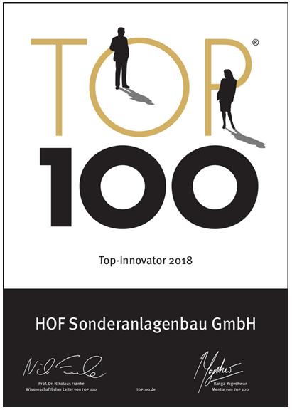 HOF reaches Germany's innovation elite for third year running