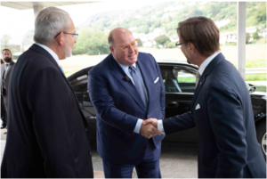 Cerbios-Pharma CEO Gabriel Haering (L) and Chairman Anton van Troostenburg welcome US Ambassador Edward McMullen Jr to Lugano