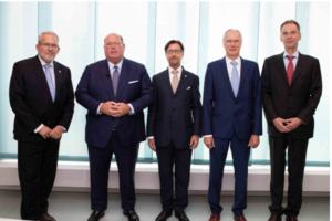 (L-R), Gabriel Haering (CEO), Edward McMullen Jr. (US Ambassador), Anton van Troostenburg (Chairman), Rudolf Dudler (Chemholding Chairman), Sandor Galambos (US Embassy)