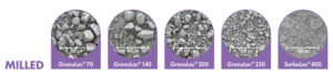 Granulac® and Sorbolac®: milled to form finer, sharp-edged particles for cohesive properties beneficial in wet granulation