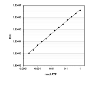 High sensitivity and performance: ATP standard curve with econoLuc.  shows signal linearity over a wide ATP concentration range. Using Biosynth econoLuc and luciferin, bioluminescence signal shows linear correlation to ATP concentrations from 0.2 fmol to 1 nmol.