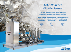 Bea's modular MAGNEXFLO filtration systems deliver highest quality clarification of chemicals, gelatins and viscous products with no need for recirculation