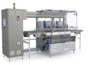 Mikron Automation EcoLine™ linear assembly cell, featuring new touchscreen human machine interface (HMI)