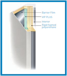 VIP vacuum insulation panel technology uses composite construction to reduce overall wall thickness