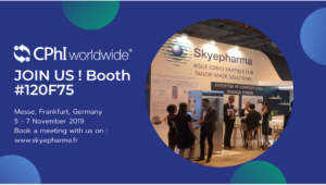 Join Skyepharma at booth 120F75. Book your meeting on www.skyepharma.fr Picture of Skyepharma booth during CPhI 2018 in Madrid.