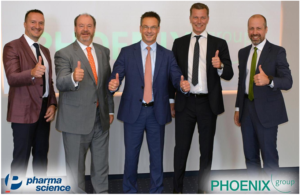Celebrating a new alliance in Mannheim: (from left to right) Todor Nyagolov (Pharmascience), Jean-Guy Goulet (Pharmascience), Oliver Windholz (PHOENIX group), Ricardo Quirch (Pharmascience) and Nemanja Jankovic (PHOENIX group)