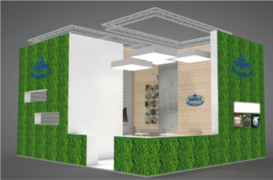 Green and blue: MEGGLE will bring a new iteration of its distinctive 'moss covered'  stand to CPhI Worldwide 2019 in Frankfurt