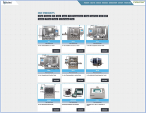 Products section provides instant overview across the whole machine range