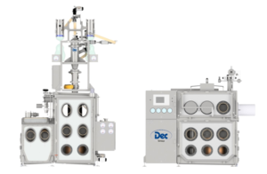Dec PT -based high containment handling system showing filter dryer discharge isolator (left) and pack-off and milling chamber (right)