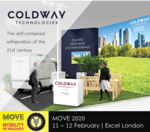 Overview of the Coldway Technologies stand at Move London trade show, where live demonstration of its patented sorption system will be conduct