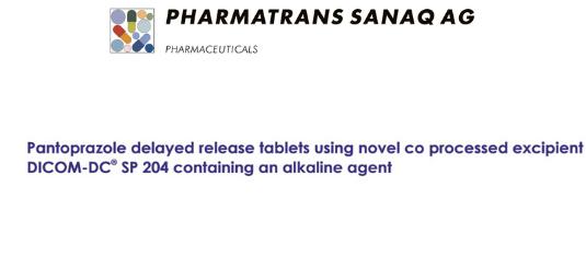 DICOM SANAQ SP 204 a proprietary excipient for Direct Compression containing alkaline agent