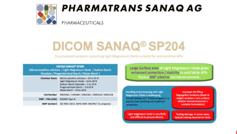 DICOM SANAQ SP 204 a proprietary excipient for Direct Compression containing alkaline agent