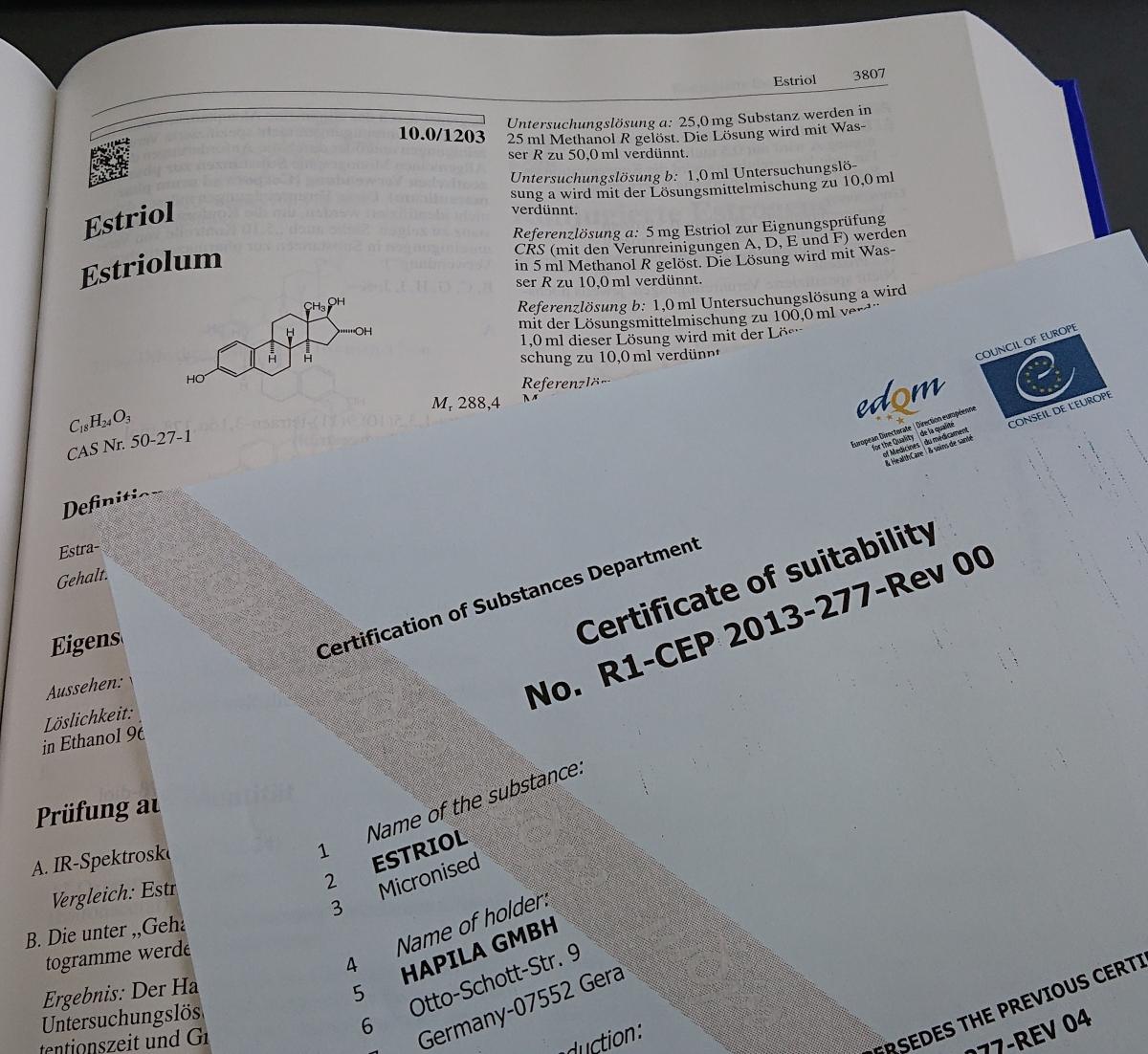 Authorities extend CEP certification for HAPILA's Estriol estrogen API