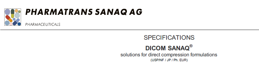 DICOM SANAQ® solutions for direct compression formulations
