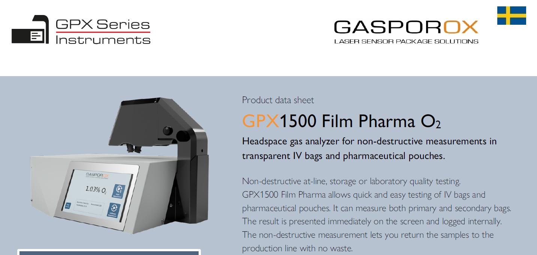 GPX1500 Film Pharma O2 – Product Data Sheet